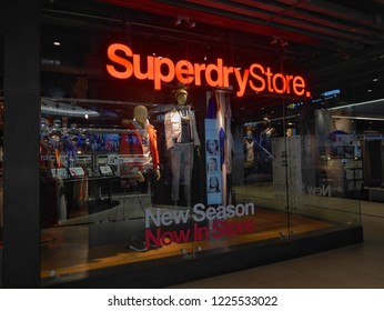 Bangkok, Thailand - November 9, 2018 : Superdry store at Siam Center shopping mall. Superdry is a UK branded clothing company.