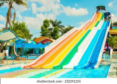 BANGKOK, THAILAND - NOVEMBER 9: Unidentified people play slide at Siam Park City water park in Bangkok, Thailand on November 9, 2014