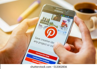 Bangkok, Thailand - November10,2016: amsung note5 with social Internet service Pinterest on the screen. Pinterest is an online pinboard that allows people to pin their interesting things.