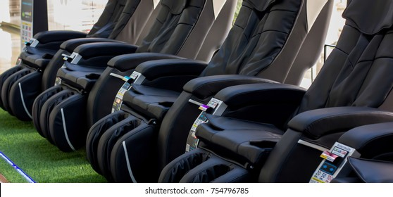 Bangkok, Thailand - Novenber 7, 2017 : Leather massage chairs vending machine at the shopping mall, convenient use for pain relief, stress relief, physical theraphy