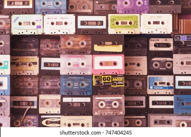BANGKOK, THAILAND - OCT 05, 2016:  Vintage Music Cassette tapes collect on the wall . Music Cassette tapes of different firms Sony , TDK , Peacock  etc.