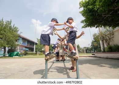 BANGKOK, THAILAND - Oct 12, 2016 : Student 7-8 years old, Scout in adventure activities, Scout Camp in Pieamsuwan school Bangkok Thailand.