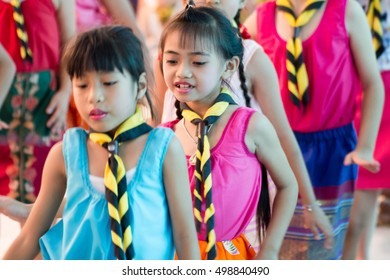 BANGKOK, THAILAND - Oct 12, 2016 : Student 7-8 years old, Scout activities, dance performances around the fire., Scout Camp in Pieamsuwan school Bangkok Thailand.