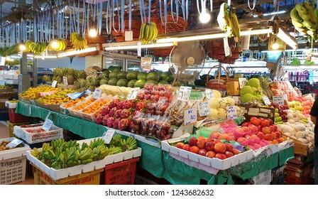 BANGKOK, THAILAND - OCT 12: Tropical thai fruits sell at Or Tor Kor market in Bangkok, Thailand on October 12, 2018. Or Tor Kor is one of the biggest food market in Bangkok.