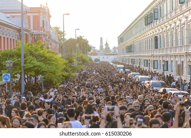 BANGKOK, THAILAND - Oct 14,2016 : Thai people attend to the funeral King Bhumibol Adulyadej on October 14,2016 in Bangkok, Thailand. King Bhumipol