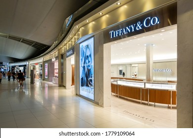 Bangkok, Thailand – Oct 16, 2018: Storefront to Tiffany & Co in the Suvarnabhumi International Airport; an American luxury jewelry and specialty retailer.