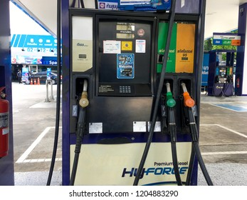 Bangkok, Thailand Oct 17, 2018: Gas dispenser of PTT gas station . (PTT : Petroleum Authority of Thailand) PTT is a Thai state owned SET-listed oil and gas company.