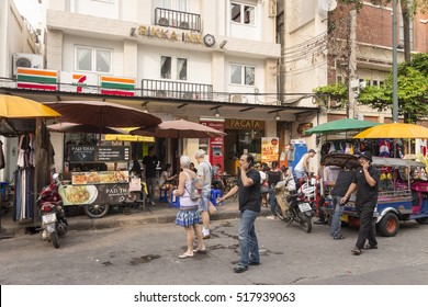 BANGKOK THAILAND - OCT 18 : scene of tourist in Khao San road on october 18, 2016. Khao San road is  tourist hub of Bangkok.