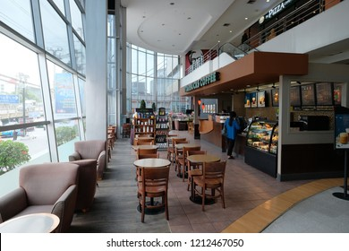 Bangkok, Thailand - OCT 20, 2018 :  Starbucks sign outside a coffee shop. Starbucks Corporation is an American coffee company and the largest coffeehouse company in the world