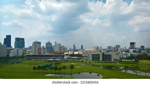 BANGKOK THAILAND, OCT. 2018 : cityscape skyline on CBD of Bangkok, see golf court and Horse Riding racecourse.