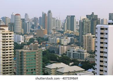 BANGKOK, THAILAND - OCT 23, 2015: Bangkok Cityscape. Sukhumvit District, Central Business Area, among High Building at Bangkok, Thailand on Oct 23, 2015.