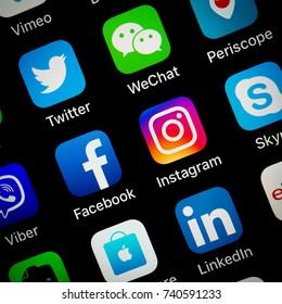 Bangkok, Thailand - OCT 24, 2017: social media marketing browser like communication logos on smart phone iphone