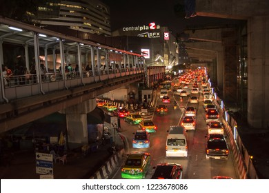 BANGKOK, THAILAND - Oct 24, 2018: Traffic jam after work on Phaholyothin road at Central Plaza Lardprao while railroads of skytrain (BTS) are being constructed.