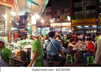 Bangkok, Thailand - Oct 25, 2010; Yaowarat street night view. Yaowarat road at night is classified as a famous tourist attractions in Bangkok.