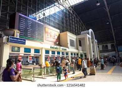 BANGKOK, THAILAND - Oct 25, 2018: Passengers queuing for tickets at the Hua Lamphong Railway Station, the main railway station of Thailand located in the center of Bangkok.