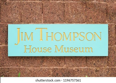 Bangkok, Thailand - Oct 6, 2018 : Jim Thompson House Museum logo sign at the entrance. Thompson is a founder of Jim Thompson Thail silk industry. Best known for reviving thai silk industry in 50s-60s.
