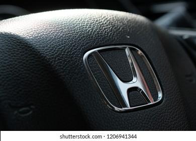 BANGKOK, THAILAND OCT15, 2018 - steering wheel HONDA car.