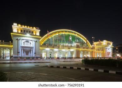 Bangkok, Thailand - Oct.31,17: Image of Bangkok railway station at the night time decorated by LED lighting.