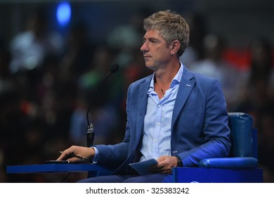 BANGKOK THAILAND OCTOBER 02:Chair Umpire John Blom in action during the Black to Thailand Nadal vs Djokovic exhibition match at Indoor Stadium on Oct 2, 2015 in,Thailand.