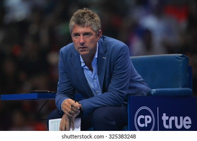 BANGKOK THAILAND OCTOBER 02:Chair Umpire John Blom looks on during the Black to Thailand Nadal vs Djokovic exhibition match at Indoor Stadium on Oct 2, 2015 in,Thailand.