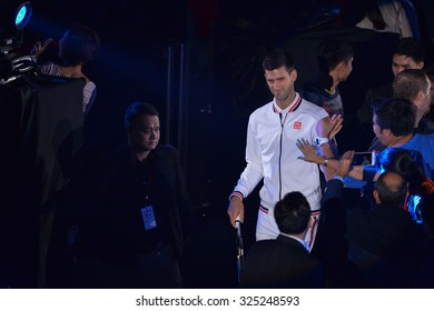 BANGKOK THAILAND OCTOBER 02:Novak Djokovic of Serbia during the Black to Thailand Nadal vs Djokovic exhibition match at Hua Mark Indoor Stadium on Oct 2, 2015 in,Thailand