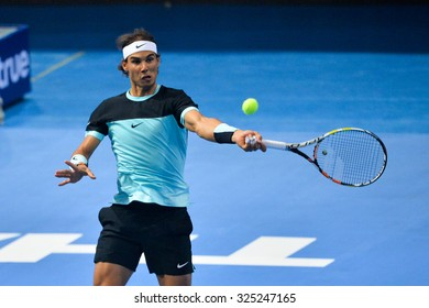 BANGKOK THAILAND OCTOBER 02:Rafael Nadal of Spain returns a forehand during the Black to Thailand Nadal vs Djokovic exhibition match at Hua Mark Indoor Stadium on Oct 2, 2015 in,Thailand