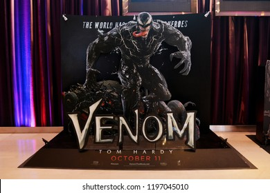 Bangkok, Thailand - October 06, 2018: Standee of Movie VENOM (Black Danger Enemy Creature from Spiderman Movie) display at the theater