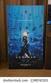 Bangkok, Thailand – October 06, 2018: The Standee of A DC Comic Superhero Movie Aquaman Displays at the Theater
