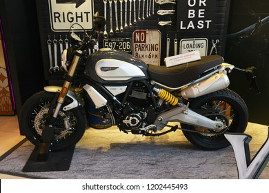 Bangkok, Thailand - October 06, 2018: A Ducati Scrambler Motorcycle from A Movie VENOM (Black Danger Enemy Creature from Spiderman Movie) display at the theater