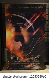 Bangkok, Thailand – October 06, 2018: The Standee of An American Biographical Drama Film First Man Displays at the Theater. The Film Based on the book First Man: The Life of Neil A. Armstrong.