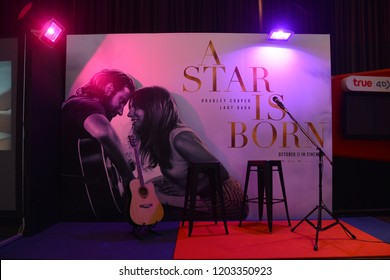 Bangkok, Thailand – October 06, 2018: The Standee of An American Musical Romantic Drama Film A Star Is Born Displays at the Theater. The Film produced, directed and played by Bradley Cooper.