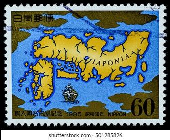"BANGKOK, THAILAND - OCTOBER 08, 2016: A postage stamp printed in Japan shows old maps and ship transportation, series "" world import fair nagoya"", circa 1985."