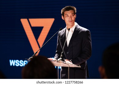 Bangkok, THAILAND – October 1, 2018: Mr. Thanathorn Juangroongruangkit - the leader of Future Forward Party (FWP) during the party's first press conference.