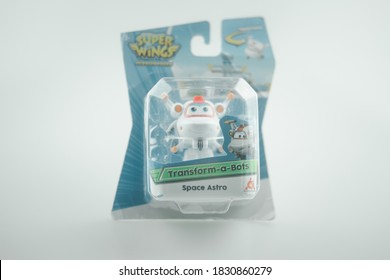 Bangkok, Thailand - October 10, 2020 : Toy of super wings character in box on a white background. Super wing is favorite cartoon in Netflix.