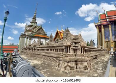 Bangkok, Thailand - October 11, 2014: Mock-up of Angkor Wat in the Wat Phra Kaew in the Grand Palace area.