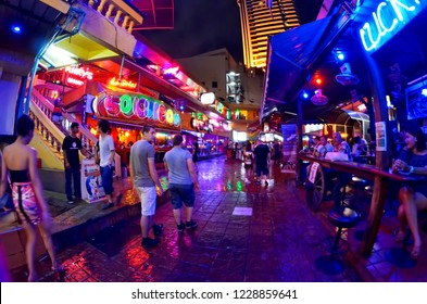 Bangkok, Thailand - October 11, 2014: Nana Plaza, a red light district area of Bangkok in a courtyard of Sukhumvit Soi 4 for adult nightlife entertainment.
