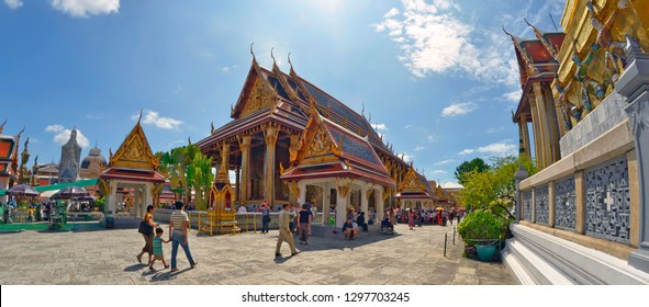 Bangkok, Thailand - October 11, 2014: Wide angle view of the ubosot hosting the Emerald Buddha at the Wat Phra Khaew, in the enclosure of the Grand Palace.