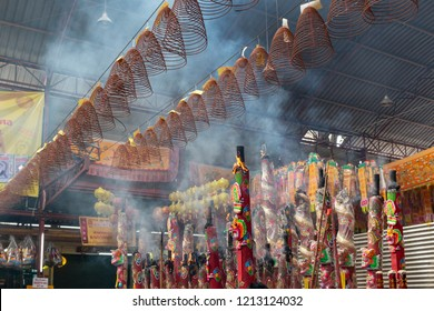 BANGKOK, THAILAND - OCTOBER 11, 2018: The Nine Emperor Gods Festival, The Vegetarian Festival. Celebrated throughout the entire country, people wearing white and abstinence from eating meat.