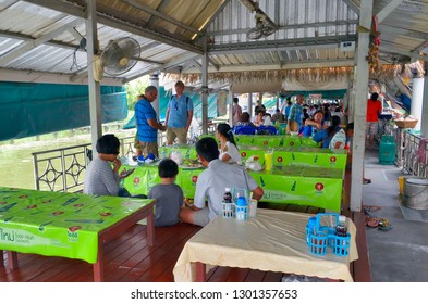 Bangkok, Thailand - October 12, 2014: Restaurant with low tables at Taling Chan Floating Market.