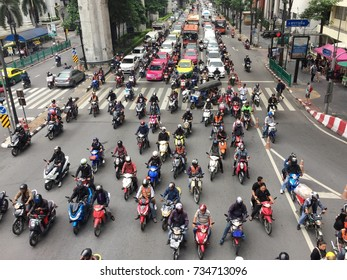 BANGKOK, THAILAND - OCTOBER 12, 2017: Congested traffic in rush hour.