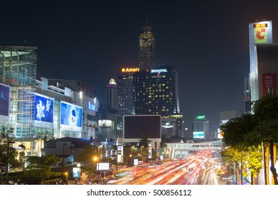 Bangkok, Thailand - October 13, 2016: Siam square, night view with light trails. This square is famous shopping area in Bangkok