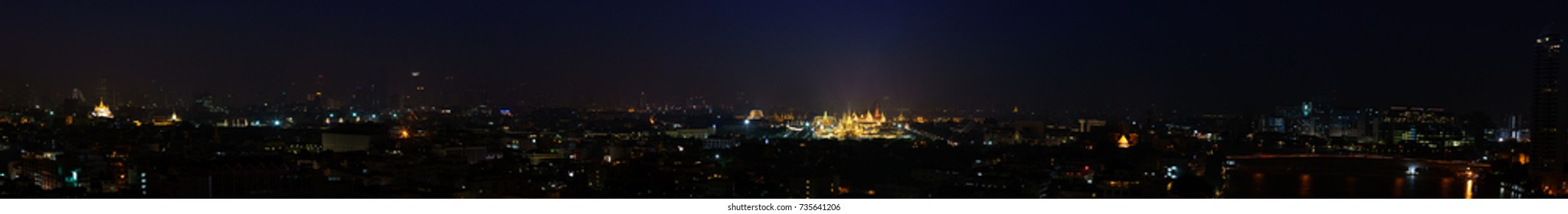 Bangkok, Thailand - October 13, 2017 : panorama landscape at night, Construction site of The royal funeral pyre for HM King Bhumibol Adulyadej at Sanam Luang prepared to be used as The royal funeral