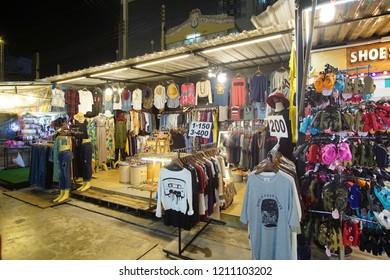 Bangkok, Thailand : October 13, 2018 : Business activityat  Neon Night Market in Pratunam (Talad Neon) has opened up on a stretch of vacant land on Petchaburi Road.