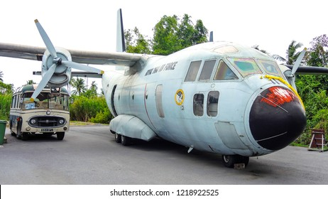 Bangkok, Thailand - October 13, 2018 : Lockheed c130 Hercules of the United States Air Force lands after a flight demonstration. Dismissed aircraft