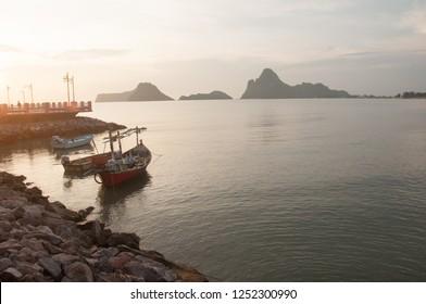 Bangkok, Thailand - October 13, 2018: The sea and the ship Saran Morning Bridge at Prachuap Khiri Khan