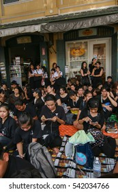 Bangkok, Thailand - October 14, 2016 :  Thai people are wearing black, white or dark coloured clothes during the mourning period for the funeral of His Majesty King Bhumibol Adulyadej.