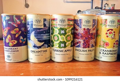 BANGKOK, THAILAND,- October 14, 2017: Colorful cans of Whittard Chelsea 1886 tea in variety favour both fruits and flowers
