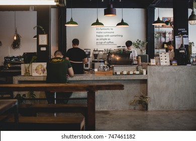 BANGKOK, THAILAND - October 14 2017: Factory coffee Bangkok located at Phayathai Road, Bangkok.Founded in 2013, Serves coffee and drinks. Interior and decoration of a Modern loft coffee shop, cafe.