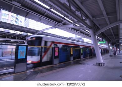 Bangkok, Thailand, - October 14, 2018 : the BTS skytrain departing chong nonsi station. BTS is the most convenient mass transportation in Bangkok