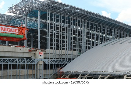 BANGKOK, THAILAND - OCTOBER 14, 2018: Large metallic structure under construction on the site of Bangsue Grand Station on October 14, 2018 in Bangkok, Thailand.